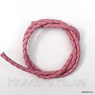 Шнур искусственная кожа, плетёный, 3 мм, Цвет: Розовый