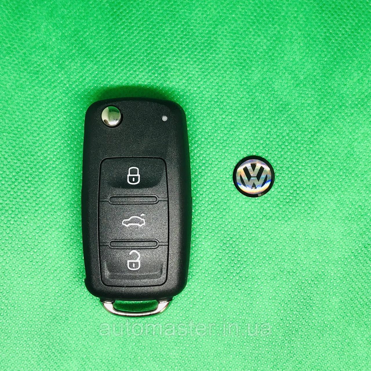 Корпус выкидного авто ключа для VOLKSWAGEN (Фольксваген) Passat, Caddy, Jetta, Golf с 2010 года, 3 - кнопки