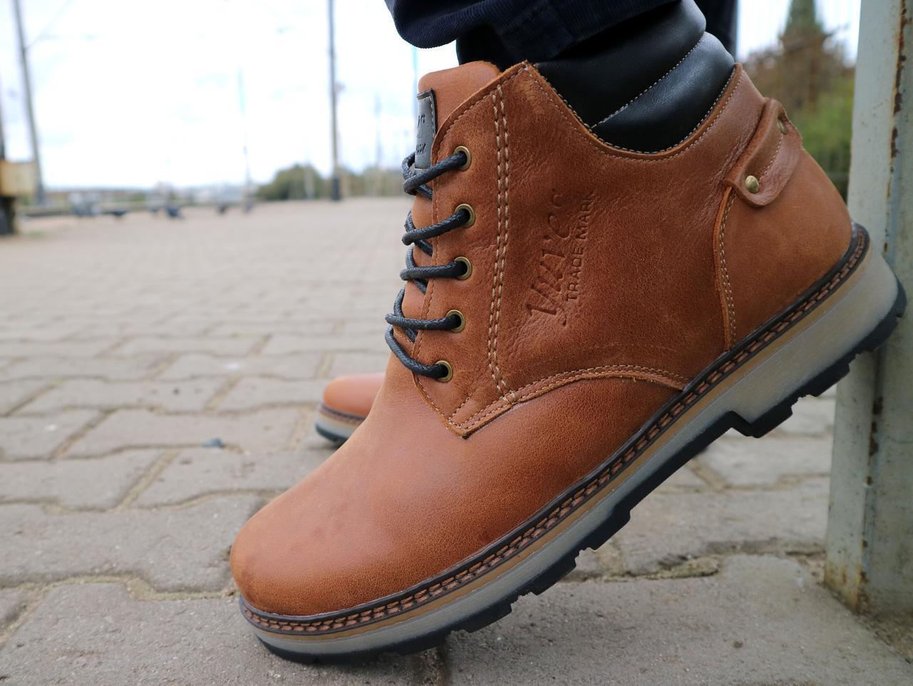 Мужские ботинки кожаные зимние рыжие Yuves 775