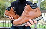 Мужские ботинки кожаные зимние рыжие Yuves 775, фото 5