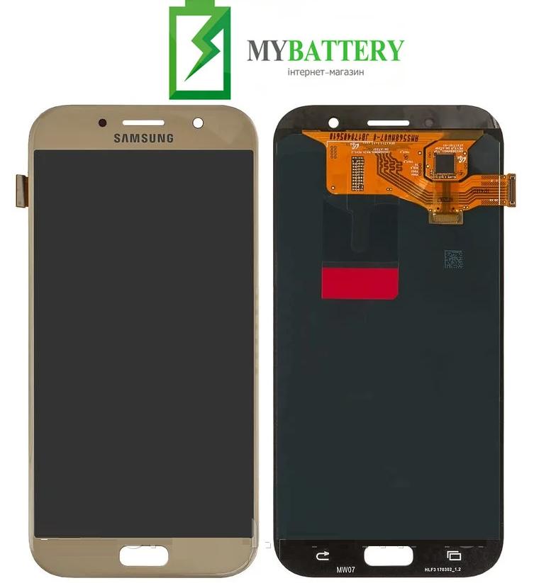 Дисплей (LCD) Samsung GH97-19723B A720F Galaxy A7 (2017) с сенсором золотой сервисный