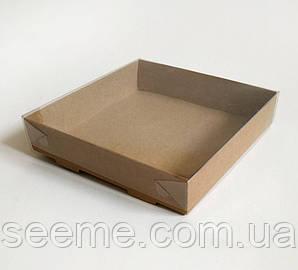 Коробка из крафт картона с пластиковой крышкой 120х120х30 мм