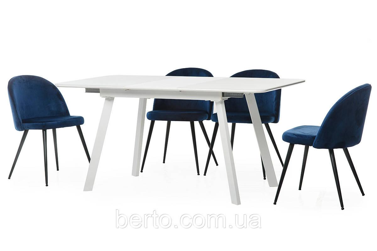 """Раскладной стол МДФ+стекло """"ТМ-170 белый"""" 120-160*80 см."""