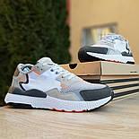 Чоловічі кросівки Adidas Nite Jogger білі з темно-сірим. Живе фото. Репліка, фото 3