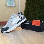 Чоловічі кросівки Adidas Nite Jogger білі з темно-сірим. Живе фото. Репліка, фото 4