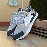 Чоловічі кросівки Adidas Nite Jogger білі з темно-сірим. Живе фото. Репліка, фото 2