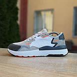 Чоловічі кросівки Adidas Nite Jogger білі з темно-сірим. Живе фото. Репліка, фото 9