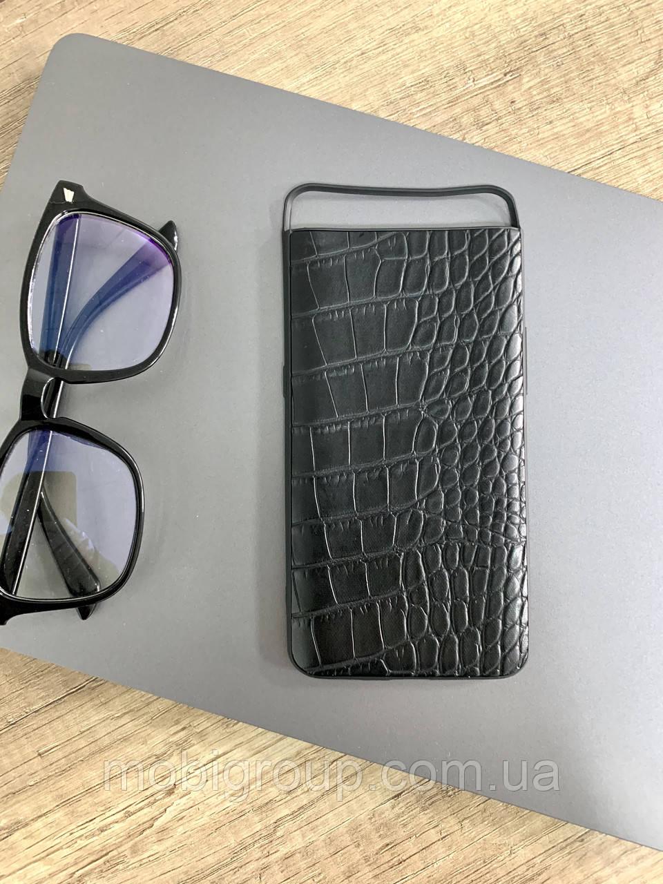 Чехол для Samsung A90 под кожу крокодила, Black