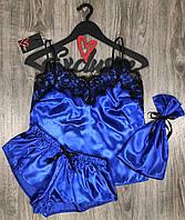 Синя атласна піжама майка+шорти і сумочка для зберігання.