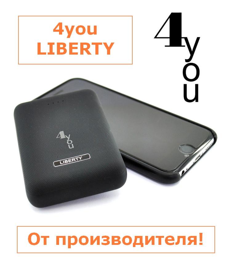 Power Bank 10000mAh 4you LIBERTY black (Mini,Real capacity,Polymer,защ.чехол,гар12мес)Акционная Цена