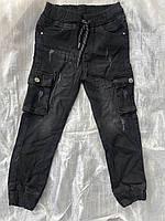 Подростковые джинсы на манжете с карманами для мальчиков,разм 9-14лет(134-164 см), фото 1