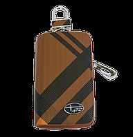 Ключница Carss с логотипом SUBARU 21014 карбон коричневый