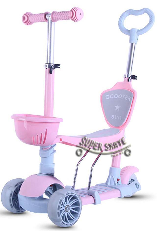 Детский Самокат 5в1 С сиденьем и родительской ручкой Scooter Розовый