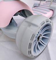 Детский Самокат 5в1 С сиденьем и родительской ручкой Scooter Розовый, фото 2