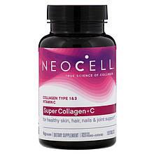 """Коллаген с витамином С, Neocell """"Super Collagen + C"""" тип 1 и 3, 6000 мг (120 таблеток)"""