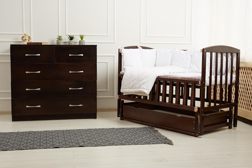 Кровать «VALERI» на подшипниках с откидной боковиной с ящиком (600 * 1200) (Венге)