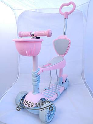 Детский самокат scooter 5 в 1 - Самокат с сиденьем и родительской ручкой - Розовый, фото 2