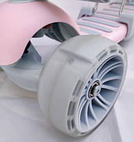 Детский самокат scooter 5 в 1 - Самокат с сиденьем и родительской ручкой - Розовый, фото 3