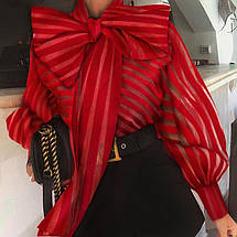 Женская нарядная блуза в полоску с большим бантом 42-46 р, фото 3
