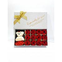Подарочный набор (брелок мишка+мыло розочки)