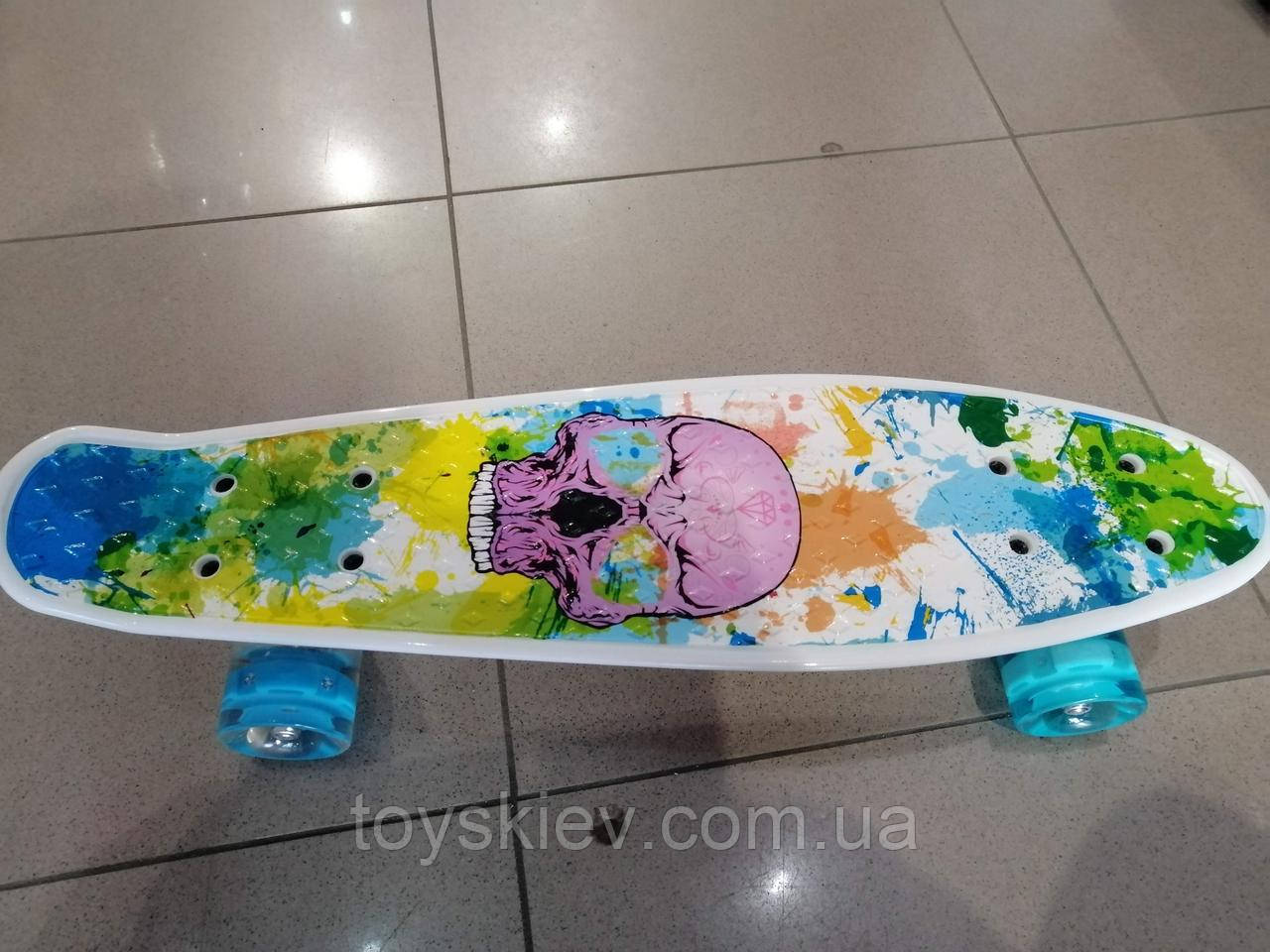 Скейт Пенни борд (Penny board) пениборд с рисунком, светящиеся колёса 29661