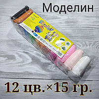 Моделин засыхающий (тесто для лепки),легкий пластилин по15 грамм/пакетик, 12 цветов+3 стека