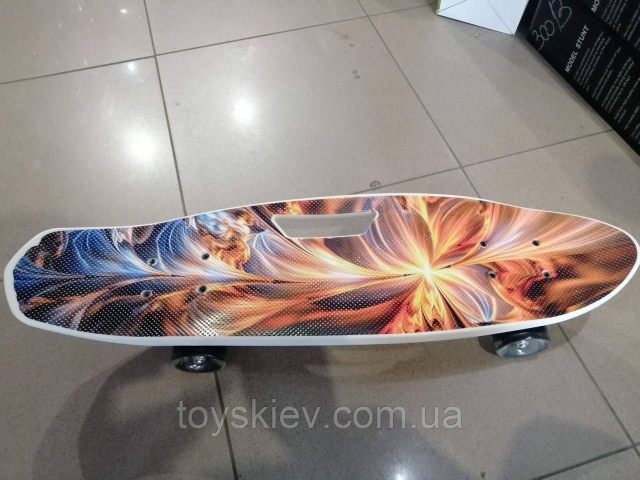 Скейт большой 65см Пенни борд (Penny board) пениборд с рисунком, ручкой светящиеся колёса