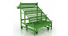Стеллаж овощной с подиумом на колесах