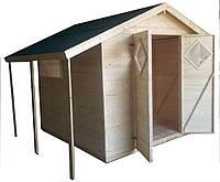 Дачный садовый домик с навесом крыши из дерева