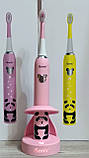 Дитяча зубна щітка Happy Panda (рожева), звукова акумуляторна, TM iSonic., фото 7
