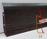 Тёмный пластиковый плинтус, высотой 85 мм, 2,5 м Венге, фото 1