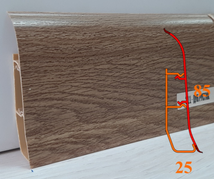 Плинтус с кабель-каналами, высотой 85 мм, 2,5 м Дуб рустик
