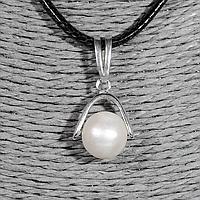 Серебряный кулон с жемчугом, Ø10 мм., 1245КЛЖ, фото 1