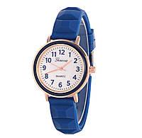 Часы женские Женева Geneva силиконовые синие 123-2