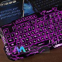 Игровая клавиатура с подсветкой Wired Tricolor M200 геймерская keyboard, фото 1