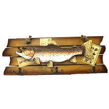 Оригинальная вешалка панно Деревянная Рыба