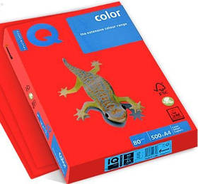 Бумага А4 IQ Color CO44 кораллово-красный, 500 л