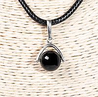 Серебряный кулон с черным турмалином шерл, Ø10 мм., 1246КЛТ