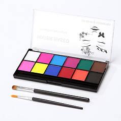 Краски для боди арта на водной основе, аквагрим, набор 12 цветов и 2 кисти