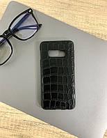 Чехол для Samsung S10e под кожу крокодила, Black