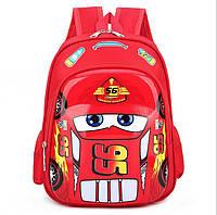 Детский рюкзак маквином дошкольный для мальчика в садик 3D Тачки 3-5 лет красный