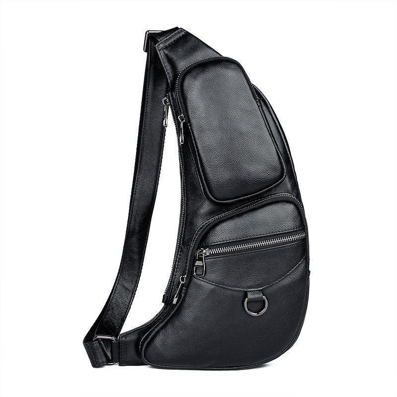Мини рюкзак мужской через одно плечо кожаный на моношлейке