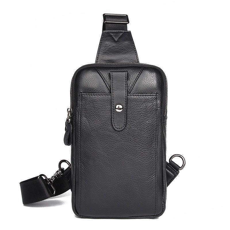 Мини-рюкзак мужской на одно плечо из натуральной кожи