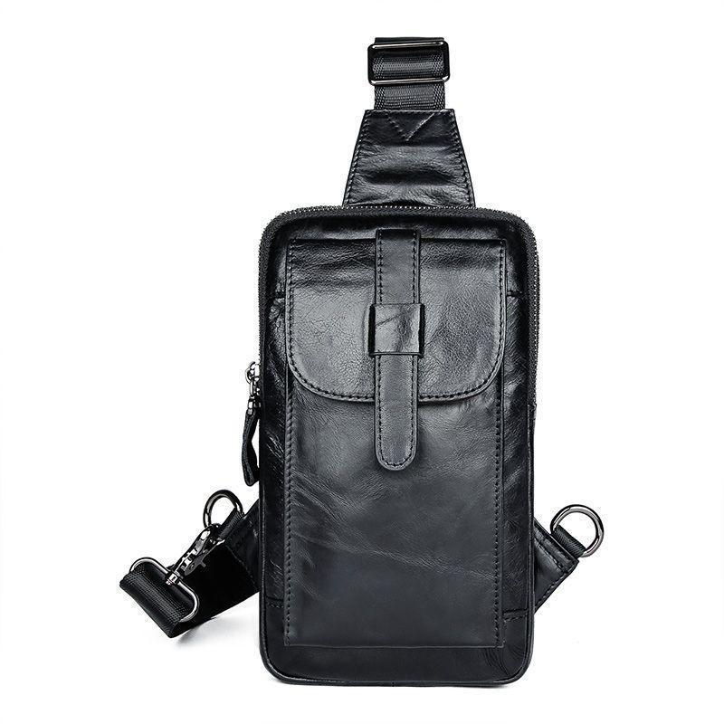 Компактная кожаная сумка  для мужчин на одной шлейке