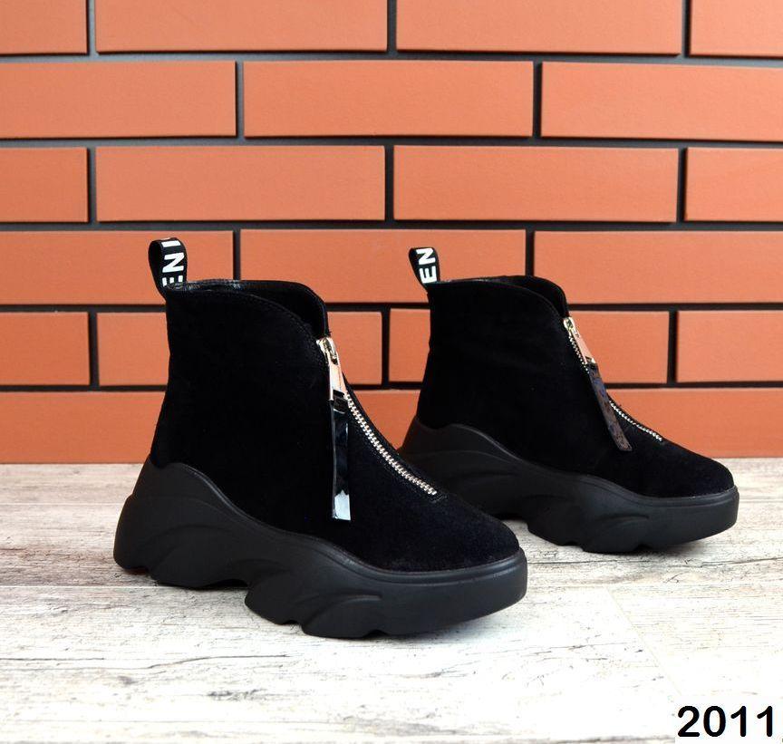 Женские зимние ботинки в черном цвете, из натуральной замши 36 ПОСЛЕДНИЙ РАЗМЕР