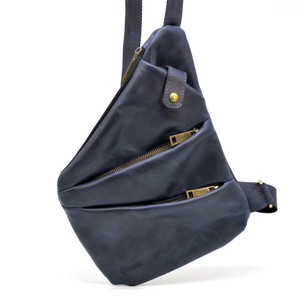 Мужская кожаная сумка-слинг темно-синяя бренд TARWA