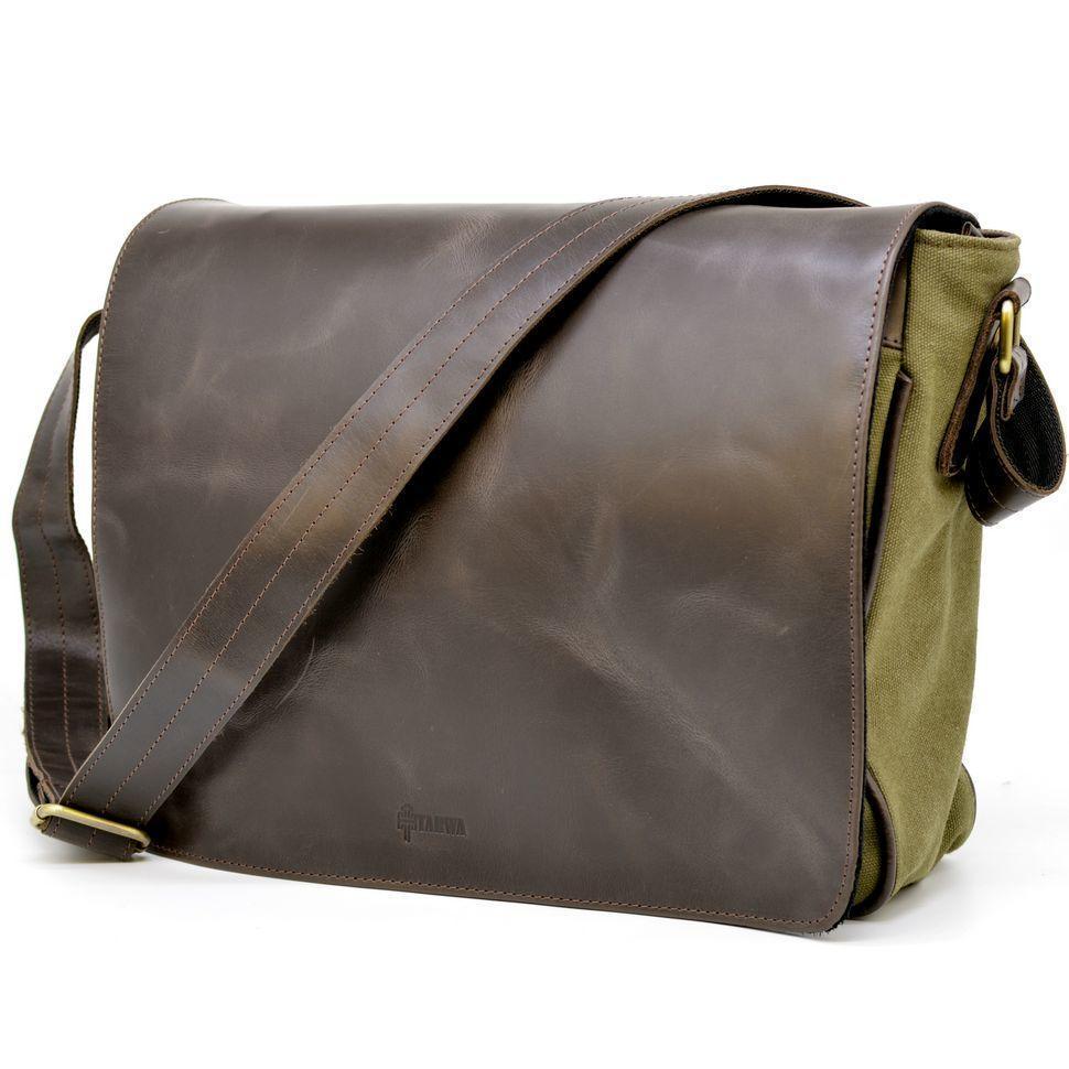 Мужская сумка через плечо из кожи и холщевой ткани канвас