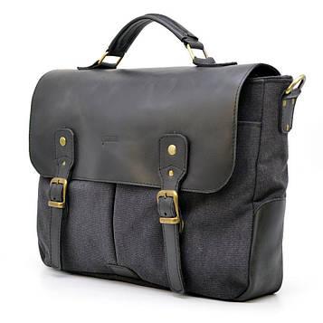 Мужская сумка портфель из канвас и лошадиной кожи