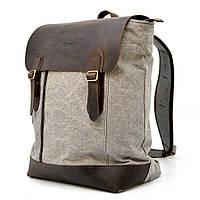 Мужской рюкзак городской, парусина+кожа