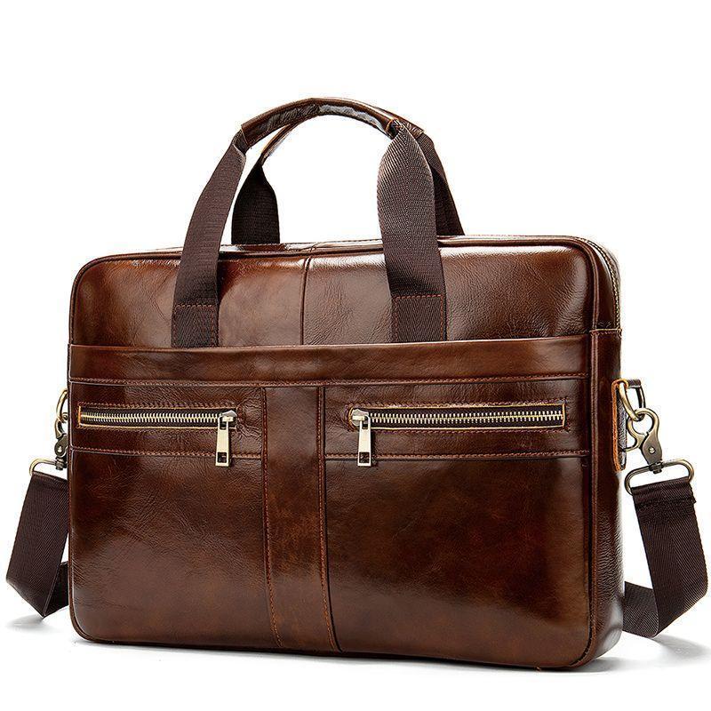 Деловая кожаная сумка коричневого цвета